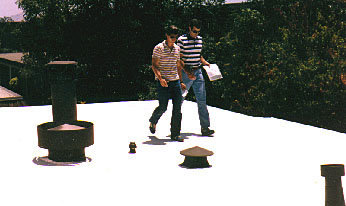 walking on a foam roof