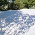 Dura-Foam sprayed foam roofing. Skylights and vents visable.
