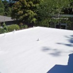 Flat white Dura-Foam roof. Sprayed foam.