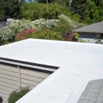 Flat white Dura-Foam roof. sprayed foam application.