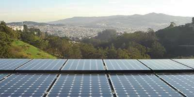 Dura-Foam solar panels overlooking valley with hills