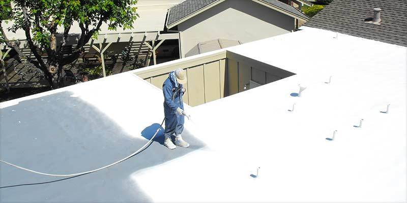 Foam Roofing Crew Applies Coating