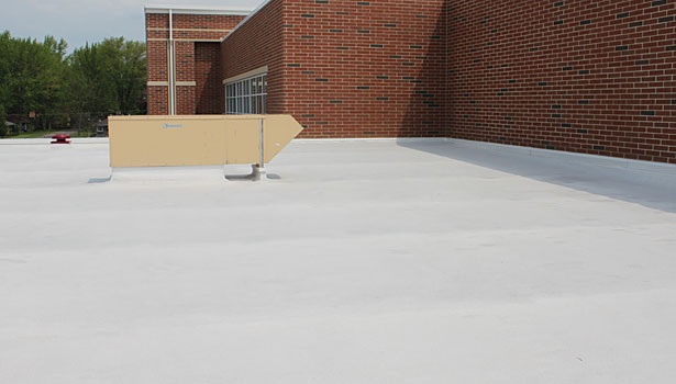 White topcoat foam roof