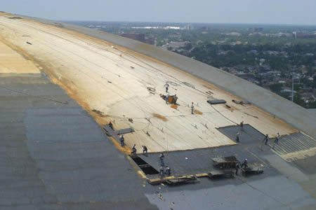 Foam Roof In Progress Louisiana Superdome