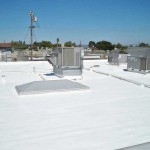 Foam roof with vents and air conditioning units