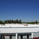 Business building with foam roofing