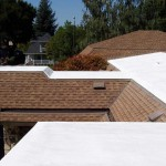 Spray foam partially installed on roof
