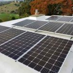 Solar panels on roof overlooking hills