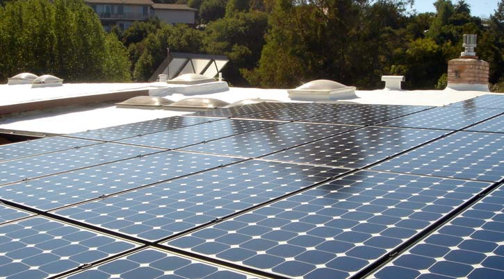Dura-Foam solar panels on flat roof